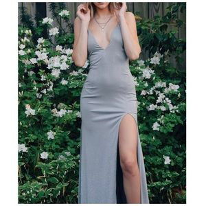 Jovani Gray Sparkly Plunging Neckline Prom Gown